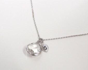 Personalized birthstone necklace, April birthstone jewelry, clear crystal, Bridesmaid gift, Wedding jewelry, Custom