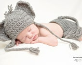 Elephant Hat and Diaper Cover - Baby Elephant Hat - Newborn Elephant Hat - Hat and Diaper cover - Newborn photo prop