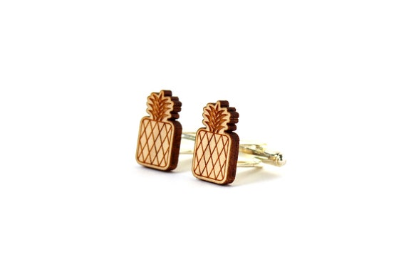 Pineapple cufflinks - exotic fruit cufflinks - lasercut maple wood - for the groom - tropical wedding - kitsch accessory for men