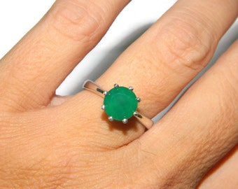 Beautiful Ring With Emerald Green Stone, Natural Onyx Ring, Sterling Silver Solitaire Ring
