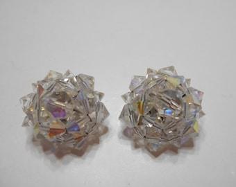 Vintage Austrian Crystal Clip Earrings (4729) (BP)