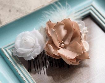 Bridal Headpiece, Bridal Hair Comb Vintage, Feather Hair Piece, Bridesmaid  Comb, Floral Hair Comb, Rose Hair Comb, Rose Bridal Comb