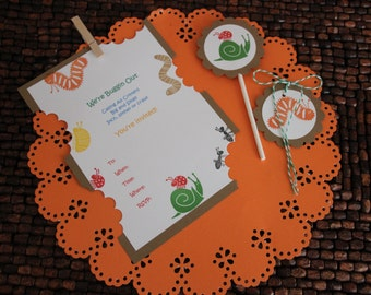 Bug & Insect Birthday Invitation - Set of 8 Invitations -