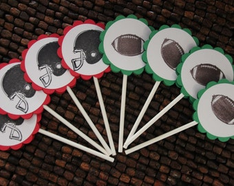 Football Birthday Party Cupcake Toppers Set -12
