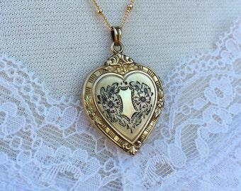 Vintage Heart Locket, Hayward Locket with Ornate Floral Etching, Wedding Locket, Gift for Her