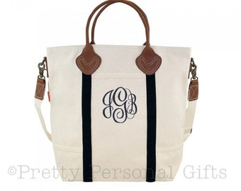 Flight  Bag - Black with Natural Canvas Tote bag with leather handles and monogram