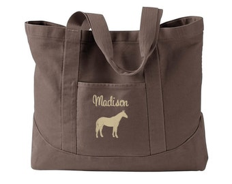 Personalized Horse Tote with name - Equestrian Tote Bag