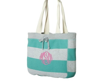 Sweatshirt Tote - Beachcomber Bag -  Turquoise & Heather Stripe