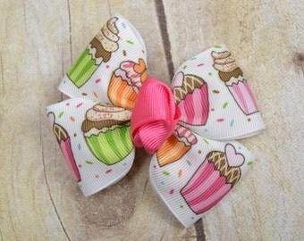 cupcake hair bow - hair bows - birthday - hair accessories - bow - accessory - cupcakes - girl - baby - hair clips