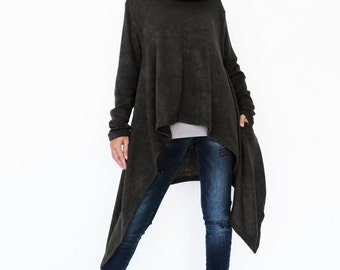 NO.189 Black Knitted Cowl Neck Long Sleeves Sweater, Knit Asymmetric Sweater, Women's Sweater