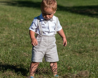 Baby boy baptism suit Ring bearer outfit Boy shorts with suspenders First birthday linen suit Baby boy wedding formal wear Boy light outfit