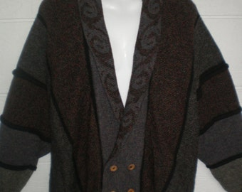 Bill Baber, fully lined wool cardigan sweater. Wood buttons, made in Scotland. Dolman sleeves, brown and grey. size medium, large, x large