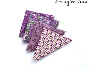 Plum Pocket Square, Plum and Green Boy's Pocket Square, Purple Pocket Square, Paisley Pocket Square, Men's Handkerchief, Groomsmen Pocket Sq