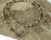 Multicolored beaded necklace - Picasso Czech glass & copper beads