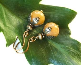SALE dangle earrings - peach aventurine gemstone beads with leaves