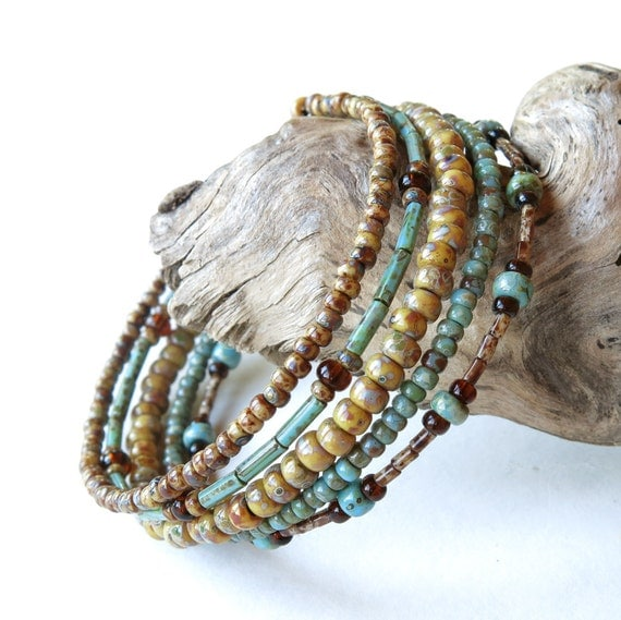 stacked beaded bracelets brown turquoise picasso