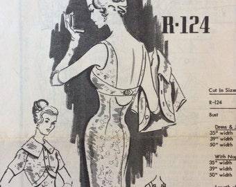 UNCUT Vintage 1960's Dress and Bolero Sewing Pattern Austine La Mar Mail R-124 Order Pattern Cocktail Dress, Party Dress