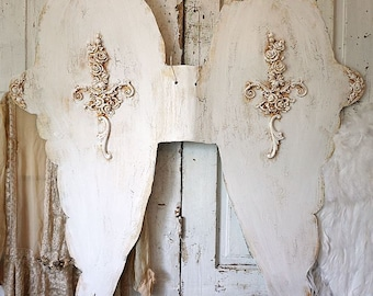 Huge metal angel wings wall hanging French Nordic white distressed embellished wing set for dress forms or home decor anita spero design