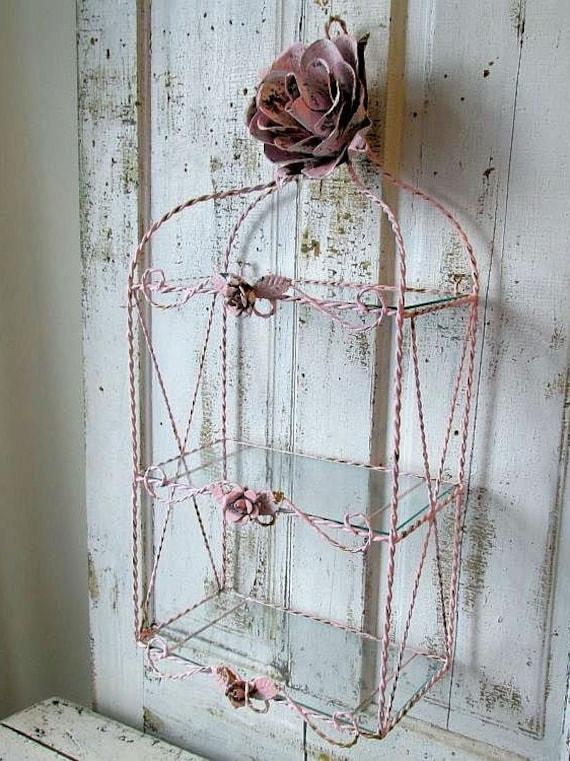 Glass Shelf Wall Decor : Ornate twisted metal wire w glass shelf wall hanging shabby