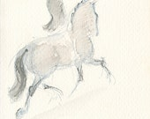 "Dressage, Horse Art, ""As One"" by Anna Noelle Rockwell, original watercolor painting"