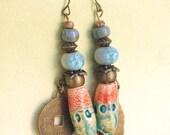 Indian Tribal Spike Dangles Boho Jewelry Beaded Rustic Ceramic Earrings Daggers Gypsy Orange Blue