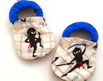 ninja baby shoes, ninja booties, baby boy shoes, ninja clothing baby, blue and white, funny baby gift boy, baby shower gift toddler slippers