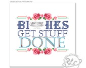 B--ches Get Stuff Done. Tina Fey MATURE Cross Stitch Pattern. Digital Download PDF.