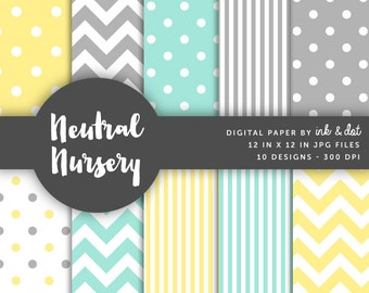Neutral Nursery Digital Paper - Scrapbooking Papers, Patterned Paper, Dots, Chevron, Mint, Yellow, Grey, Baby, Boy, Girl - Instant Download