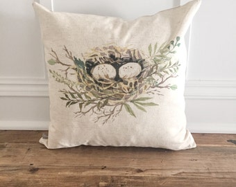 Watercolor nest pillow cover