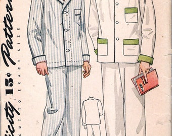 Vintage 1935 Simplicity 1617 Men's Two-Piece Pajamas Sewing Pattern Size 36 Neck 15""