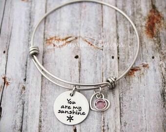 Bangle Bracelet - Personalized - Expandable - Adjustable - Birthstone - You Are My Sunshine - Hand Stamped - You're My Sunshine - Custom