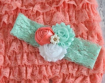 Coral, Mint and White Lace Headband, Baby Headband, Girls Headbands, Adult Headbands, Toddler Headband,