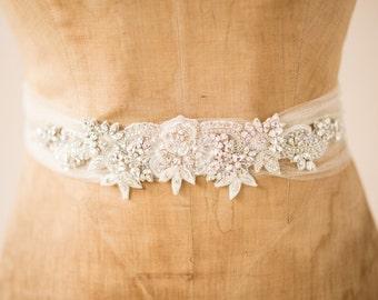 Wedding Belt Bridal Sash, Vintage Bohemian Crystal Beaded Ivory Flower & Leaf Details Ornate Tulle Trim Design, Camilla Christine, VICTORIA