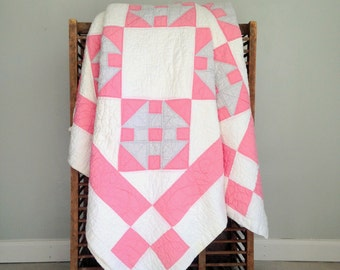 "Antique Quilt, Monkey Wrench Quilt, Churn Dash Quilt Pattern, Pink, Blue, and White Vintage Quilt, Handmade Quilt, 78"" x 66"""