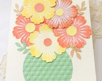 Large Flower cards - Hand made cards: Stampin Up - Flowers - Pastels flower cards - bouquet of flowers - flowers in a vase - greeting cards