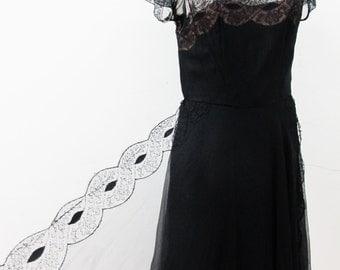 1930s Illusion Lace Chiffon Dress