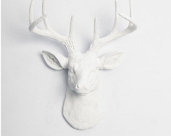 Faux Deer Head Wall Mount - The MINI Templeton Deer Head Decor - Mini White Resin Deer Head - White Deer Antlers - Faux Animal Heads by WFT