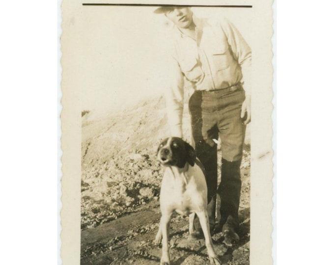 Vintage Snapshot Photo: Man & Funny Face Dog, c1930s-40s (610509)