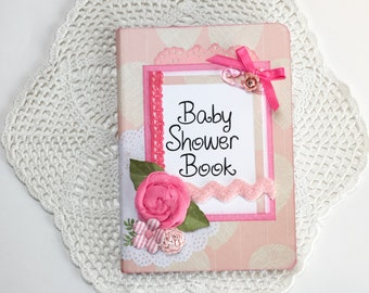Baby girl Baby Shower Book with balloon print cardstock and handmade flowers