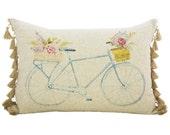 Blue Bike Pillow, Linen Lumbar Pillow with Burlap Tassels, TheWatsonShop