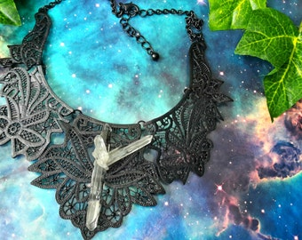 Cosmic goddess Quartz crystal necklace