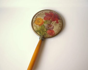 Vintage Hand Mirror Butterscotch Celluloid handle Floral Motif