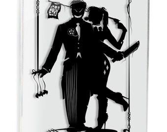 Harley Quinn and Joker - hand cut paper art // handmade papercut wall artwork silhouette comic book illustration