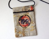 Pouch Zip Bag KOI CARP Fabric.  Great for walkers markets travel.  Phone Pouch. Small fabric Purse. Japanese Goldfish. sling pouch