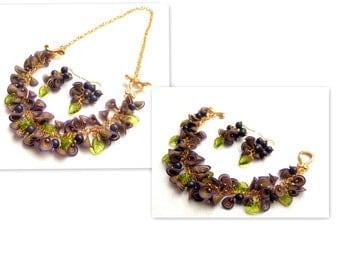 Purple Jewelry, Flower Jewelry, Boho Jewelry, Necklace Into Bracelet, Purple Earrings,Gift For Her, Spring Jewelry,Floral Fashion,Millefiori