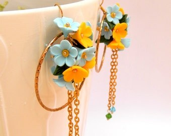 Hoop Earrings, Flower Earrings, Handmade Earrings, Flower Jewelry, Spring Jewelry, Modern Earrings, Gift For Her, Birthday Gift, Floral