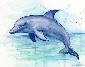 Dolphin Watercolor Art Print, Dolphin Painting, Dolphin Print, Sea Creatures, Nursery Print, Whimsical Animal, Dolphin Decor, Marine Life
