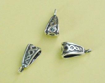 4 Pieces, Fancy Ornamented Bails, Bali Oxidized Sterling Silver .925, 6mm x 14mm, SB114