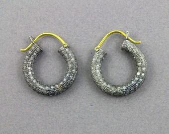 Pave Diamond Earrings, Pave  Hoops Earrings, Diamond Hoops Earring, Pave Round Earrings, Pave Earrings, Oxidized Silver. (Earr-075)