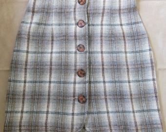 90s Wool Plaid Mini-skirt
